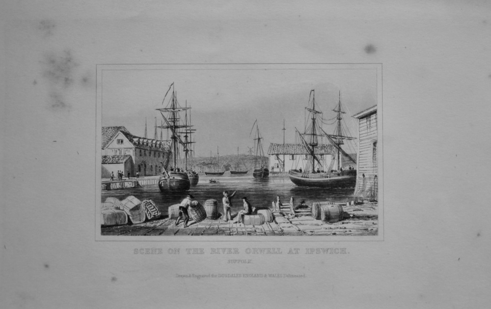 Scene on the River Orwell at Ipswich.  Suffolk.  1845.