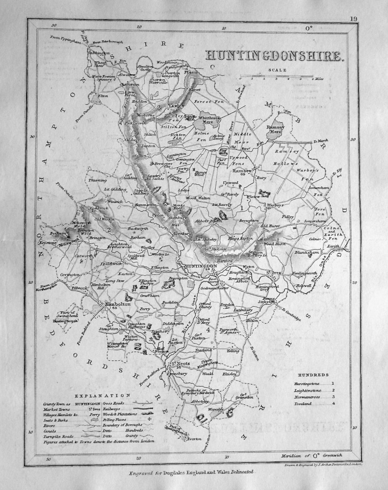 Huntingdonshire.  (Map)  1845.
