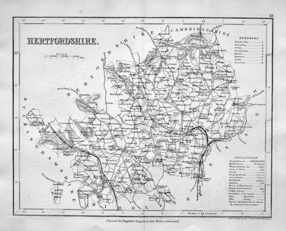 Hertfordshire.  (Map)  1845.