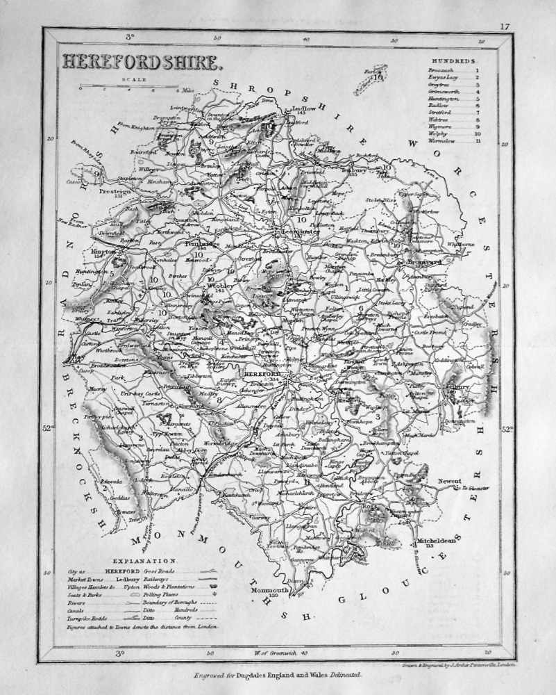 Herefordshire. (Map)  1845.