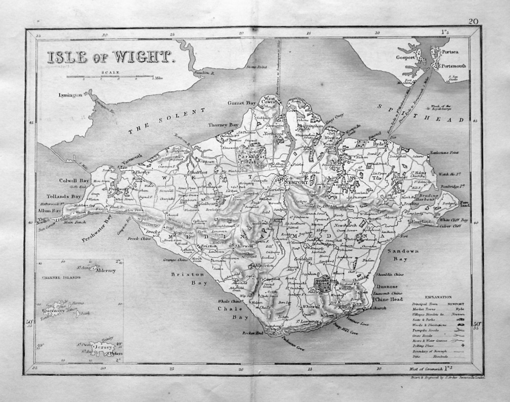 Isle of Wight.  (Map)  1845.