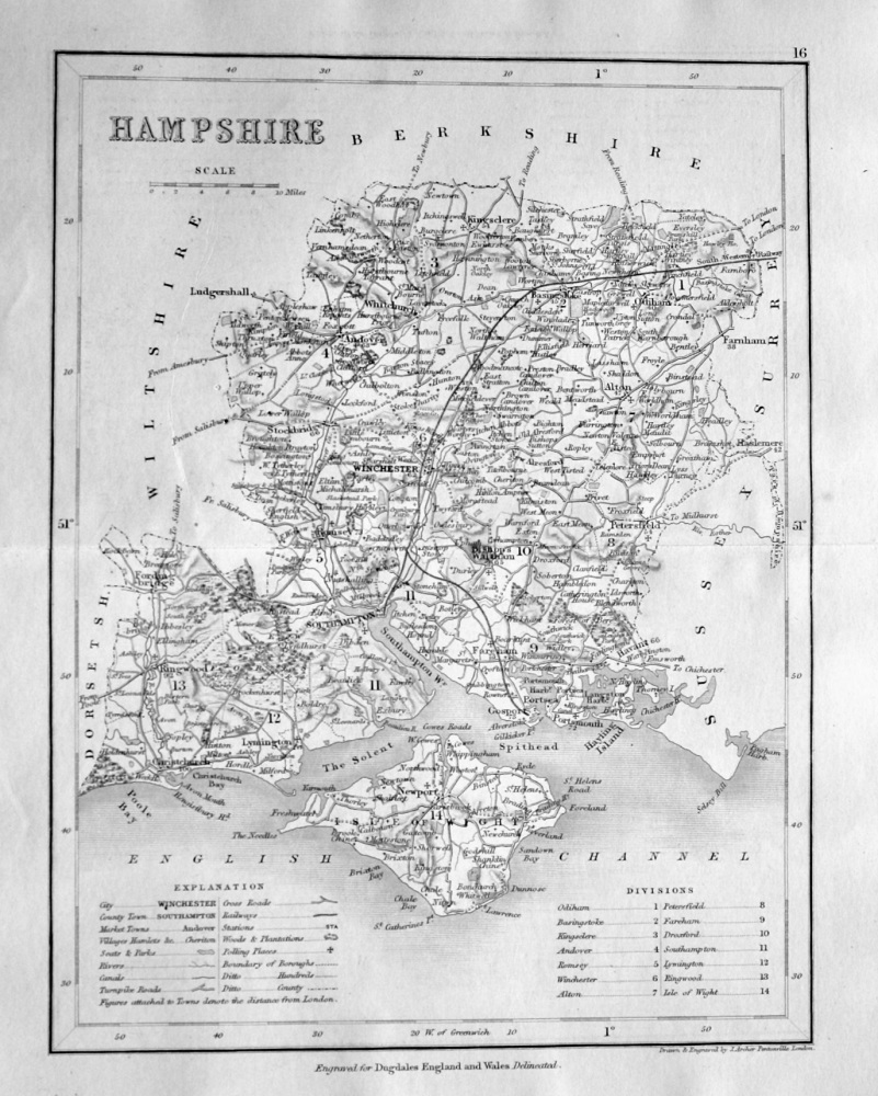 Hampshire. (Map)  1845.