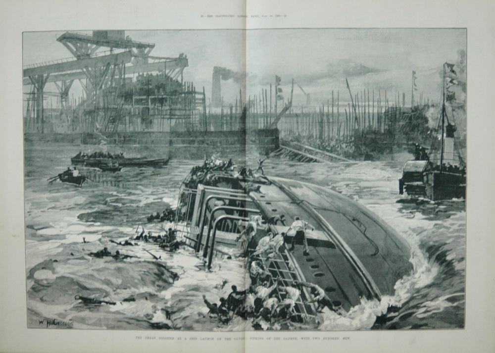 Great Disaster at a ship Launch on the Clyde : Sinking of the 'Daphne', with two hundred men.  1883.
