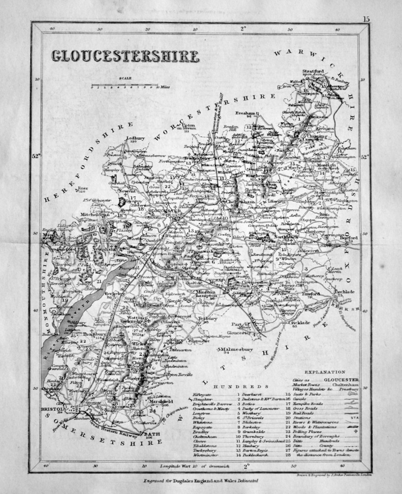 Gloucestershire.  (Map)  1845.