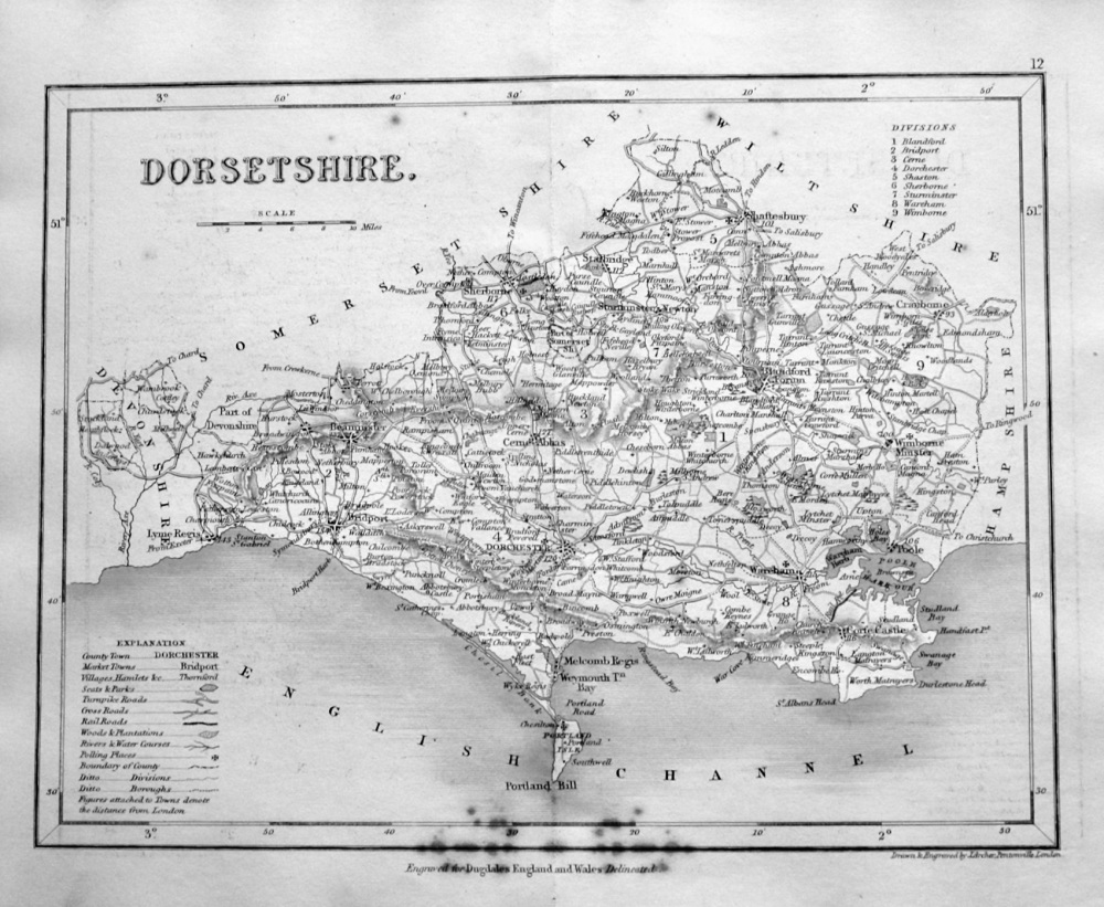 Dorsetshire.  (Map)  1845.