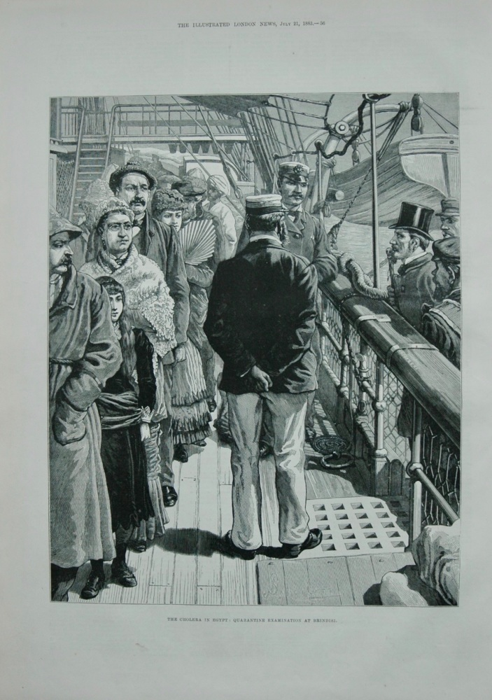The Cholera in Egypt : Quarantine examination at Brinidisi.  1883.