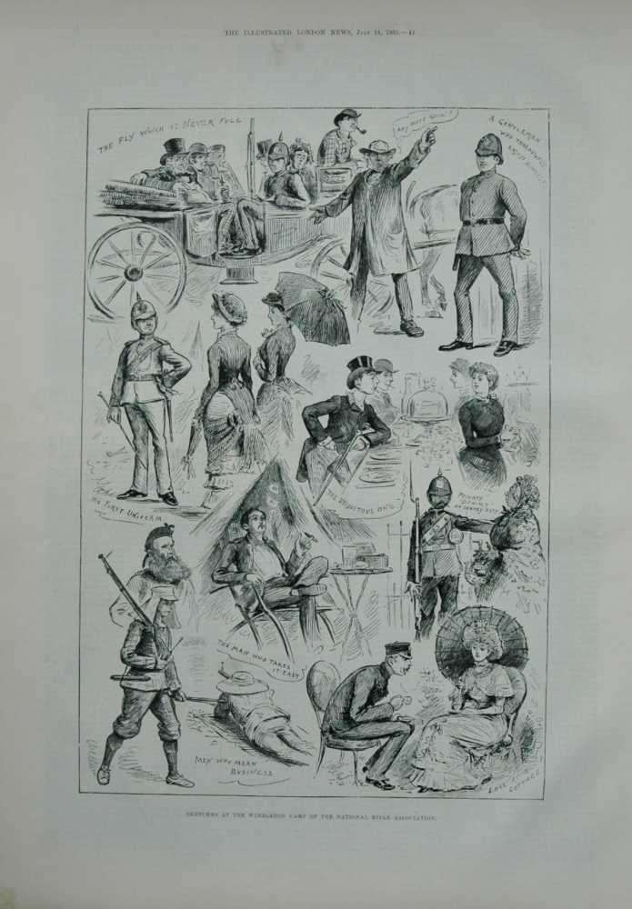 Sketches at the Wimbledon Camp of the National Rifle Association.  1883