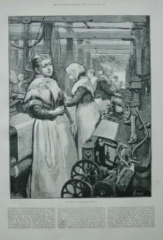 """At work in a Woollen Factory"" 1883"
