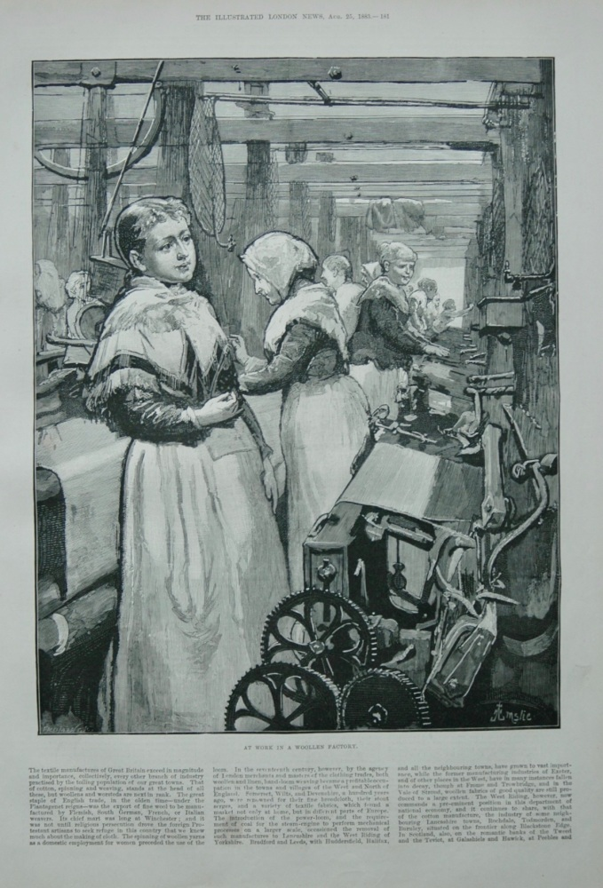 """At Work in a Woollen Factory"" 1883"