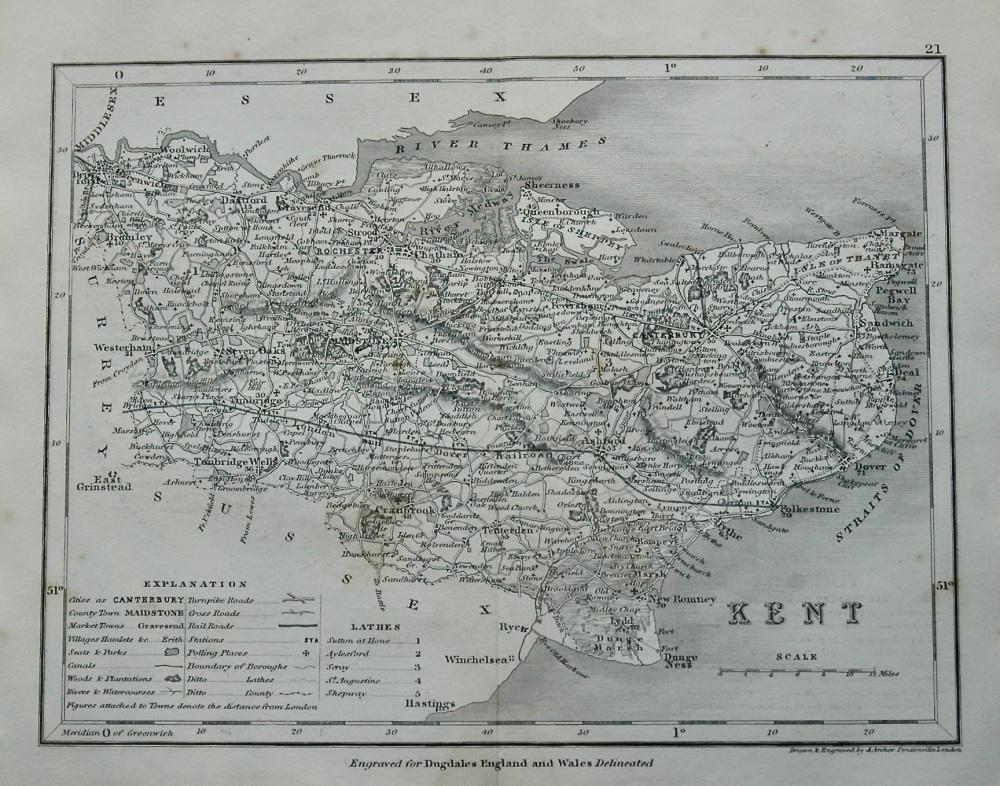 Kent.  (Map).  1845.