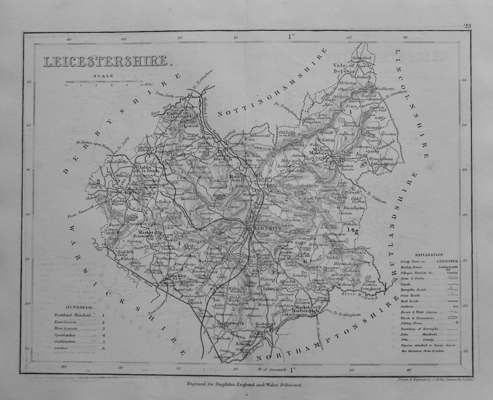 Leicestershire.  (Map) 1845.