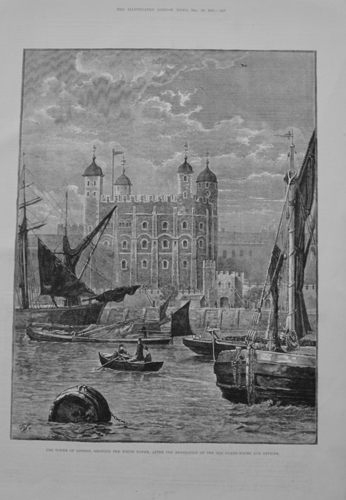 The Tower of London, showing the White Tower - 1883