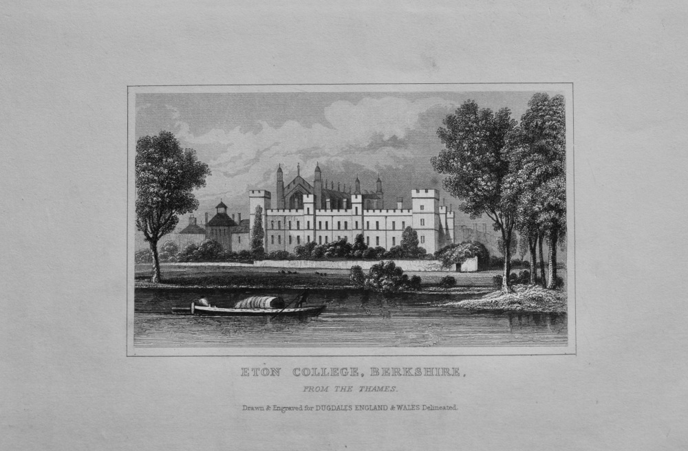 Eton College, Berkshire, from the Thames.  1845.