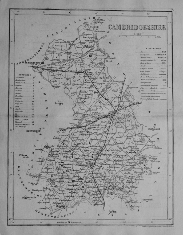 Cambridgeshire.  (Map)  1845.