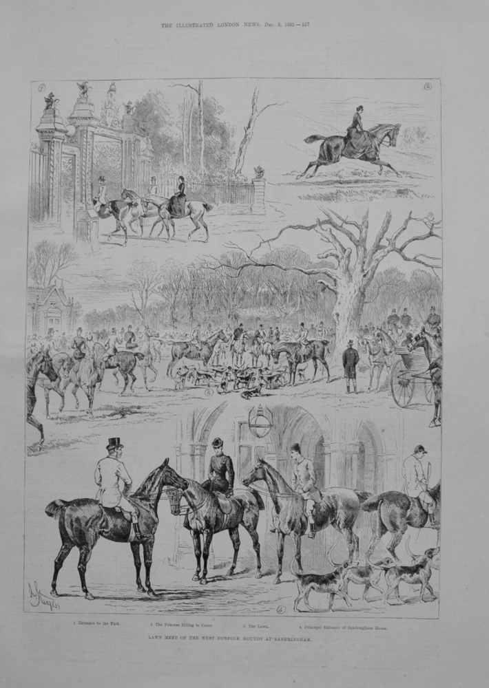 Lawn Meet of the West Norfolk Hounds at Sandringham. - 1883