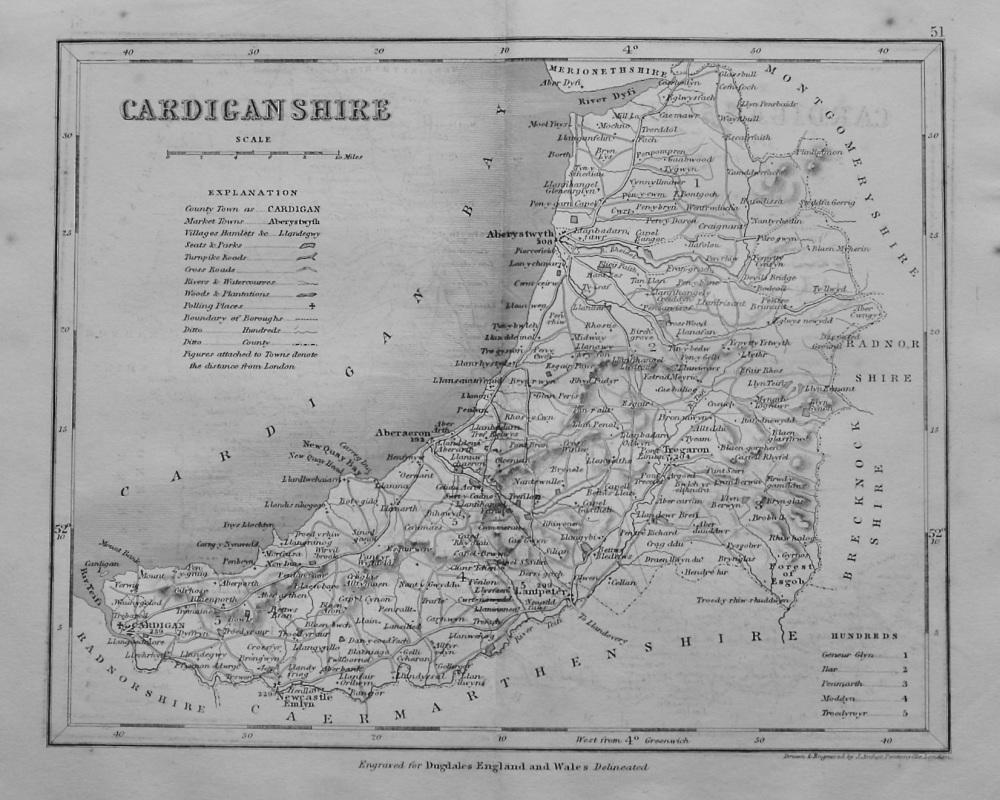 Cardiganshire. (Map)  1845.