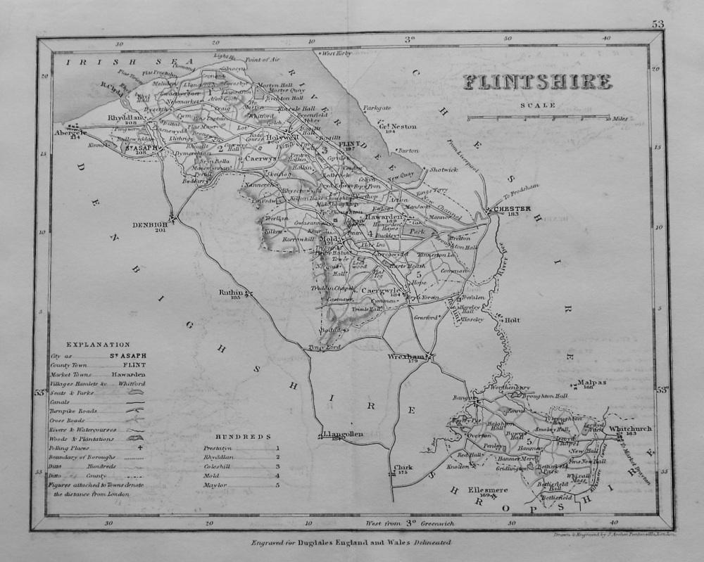 Flintshire. (Map)  1845.