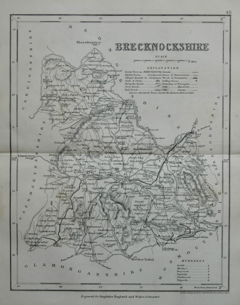 Brecknockshire.  (Map)  1845.