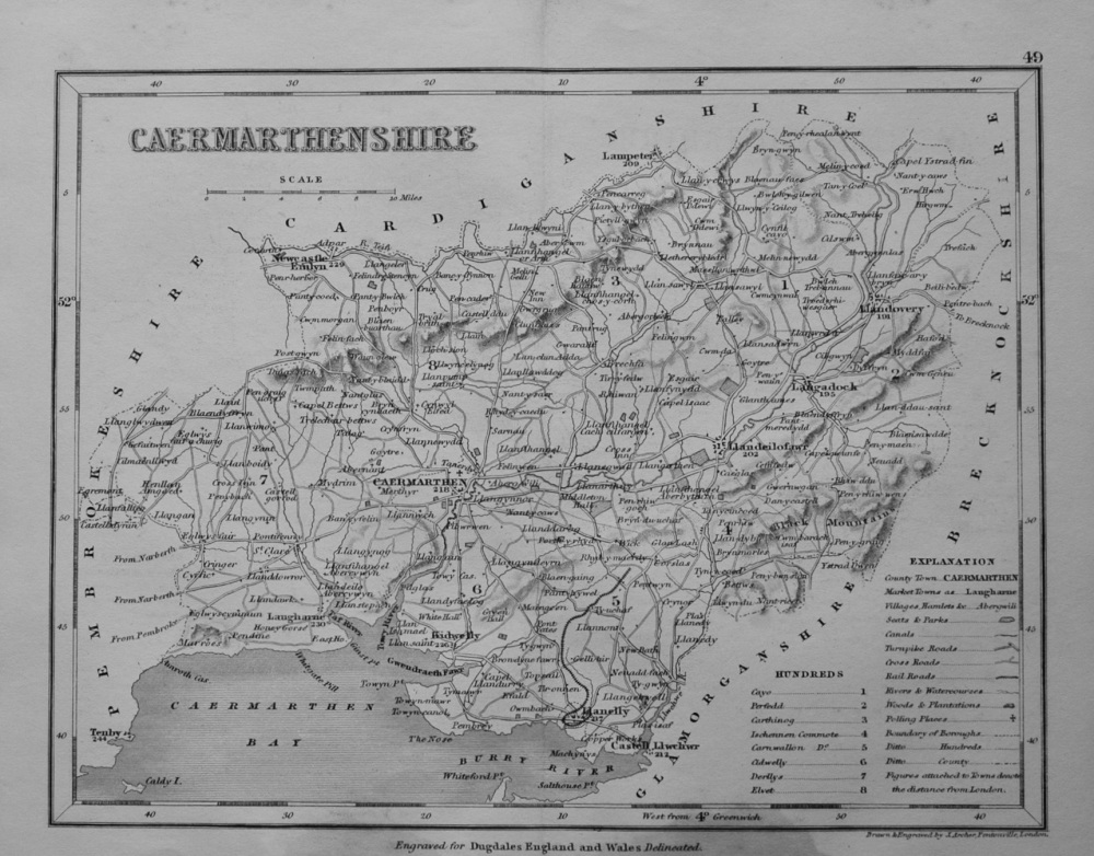 Caermarthenshire.  (Map)  1845.