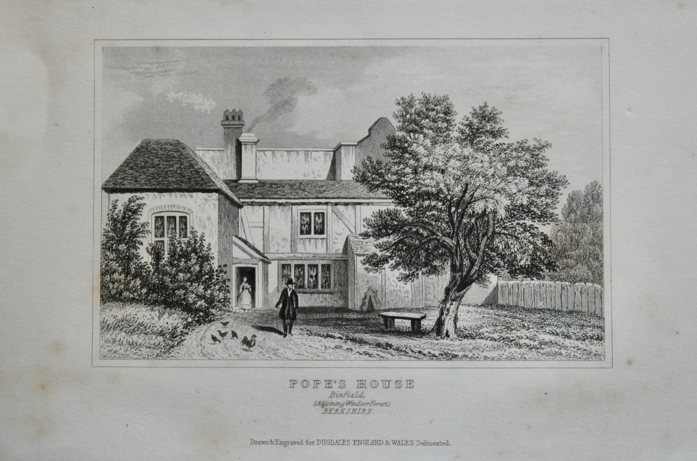 Pope's House. Binfield.  (Adjoining Windsor Forest)  Berkshire.  1845.