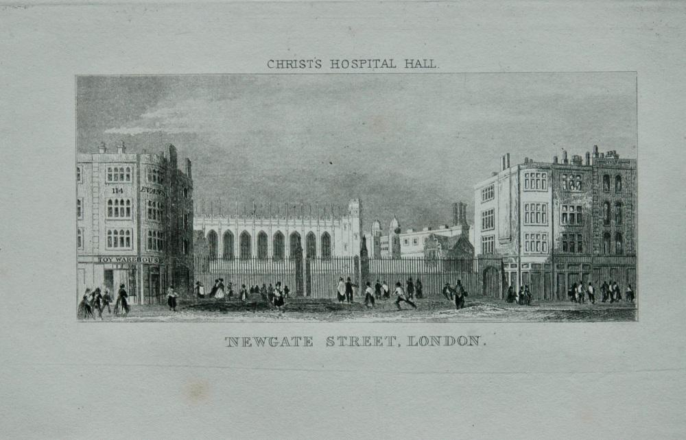 Christ's Hospital Hall, Newgate Street, London.  1845.