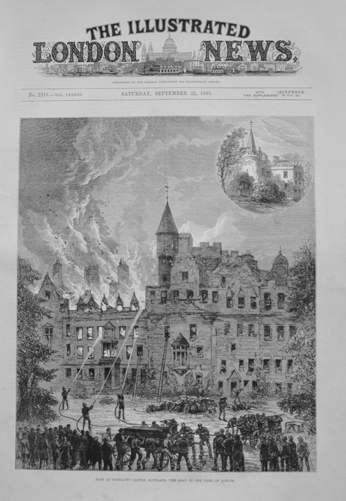 Fire at Cortachy Castle - 1883