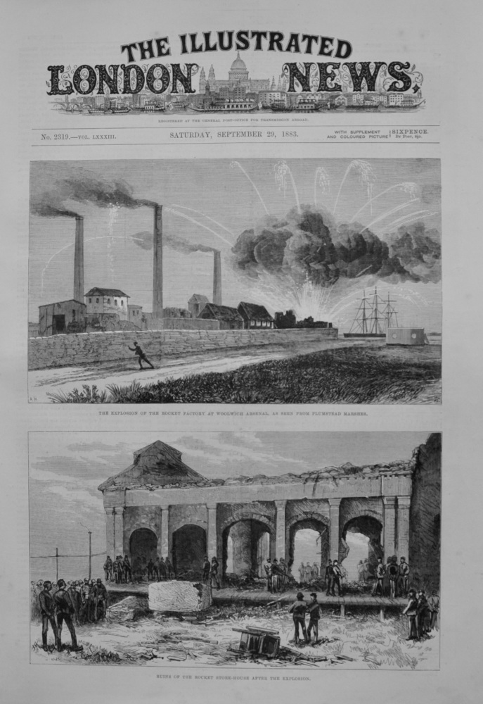 Explosion at Rocket Factory - Woolwich Arsenal - 1883