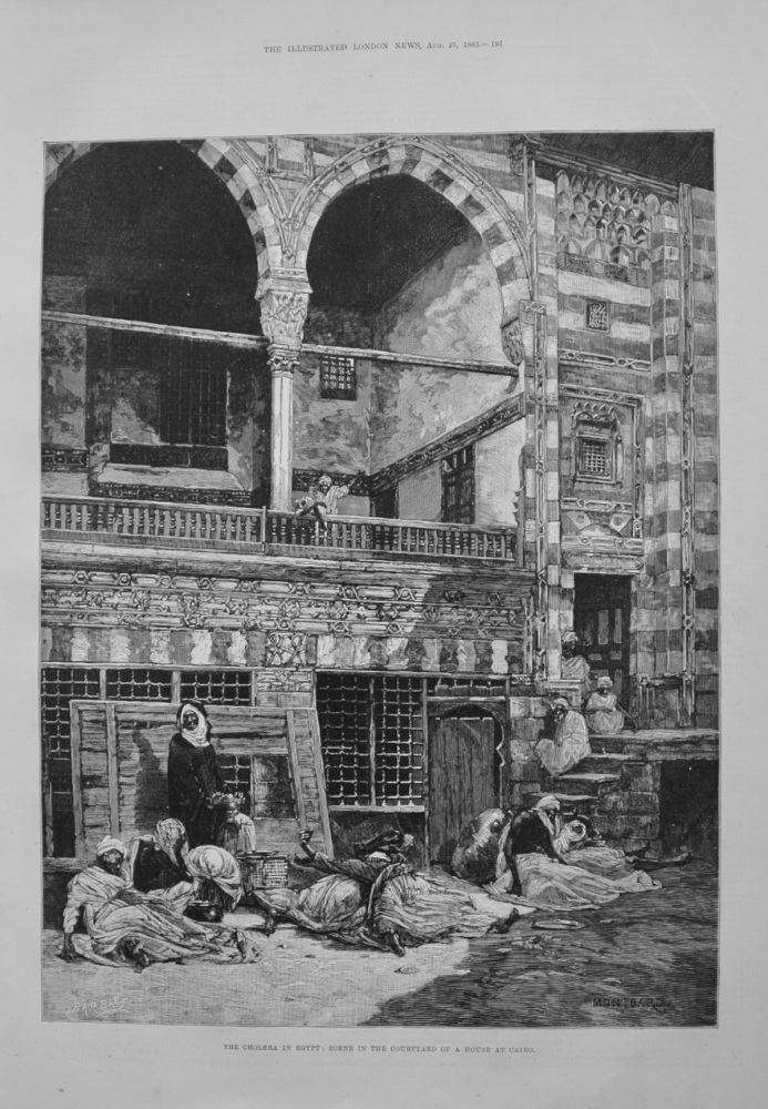 """The Cholera in Egypt : Scene in the Courtyard of a House in Cairo."" - 1883"