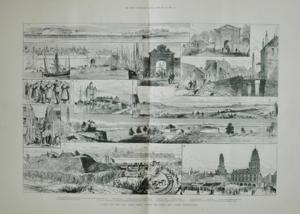 Calais: Old and New, with Canal around the Town, now under Construction.  - 1883