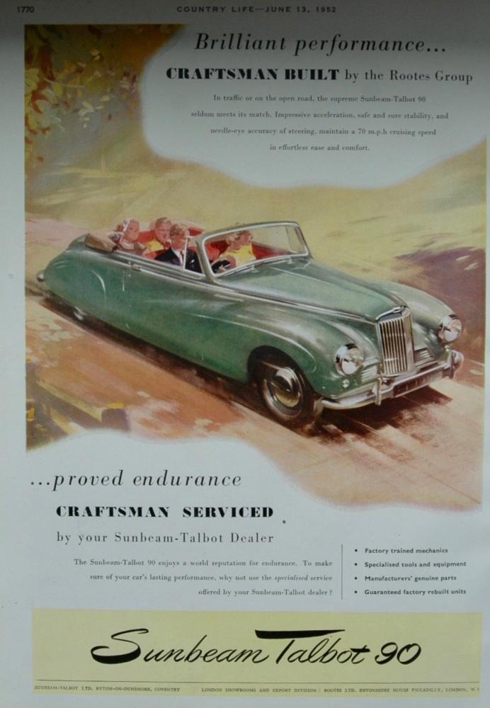 Advert for Sunbeam Talbot 90