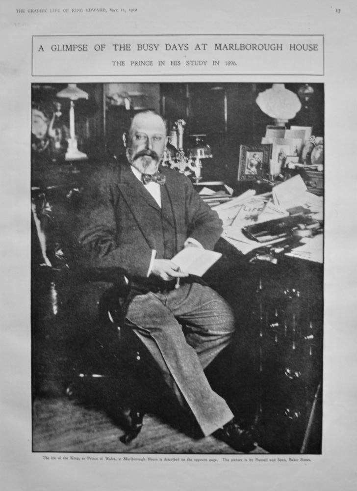 A Glimpse of the Busy Days at Marlborough House : The Prince in his Study in 1896. (King Edward VII.)