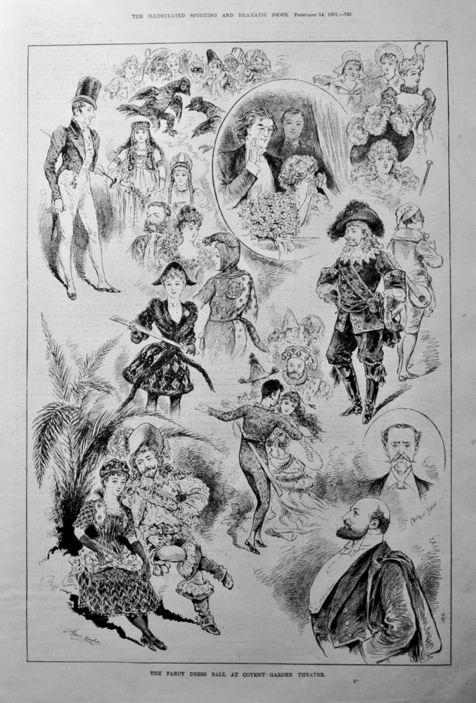 Fancy Dress Ball at Covent Garden Theatre.  1891.