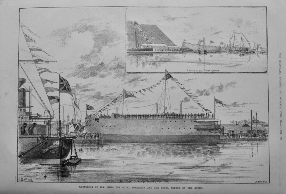 Launching of H.M. Ships the Royal Sovereign and the Royal Arthur by the Que