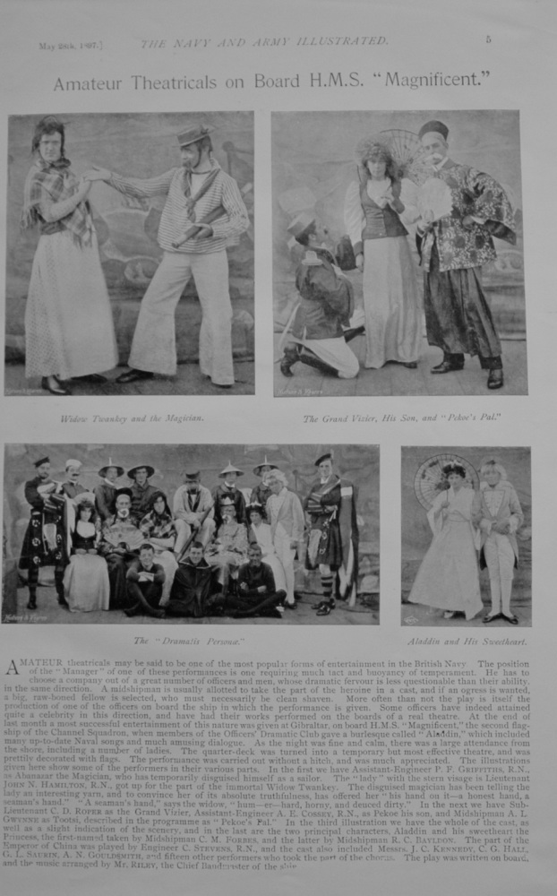 """Amateur Theatricals on board H.M.S. """"Magnificent"""" - 1897"""