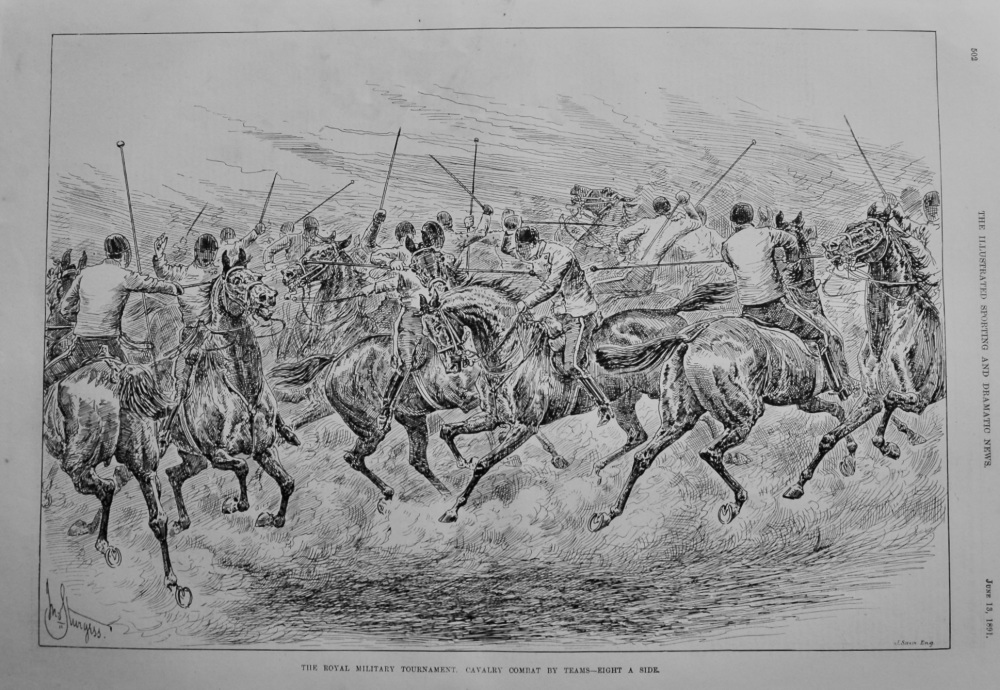 Royal Military Tournament.  Cavalry Combat by Teams - Eight a Side.  1891.