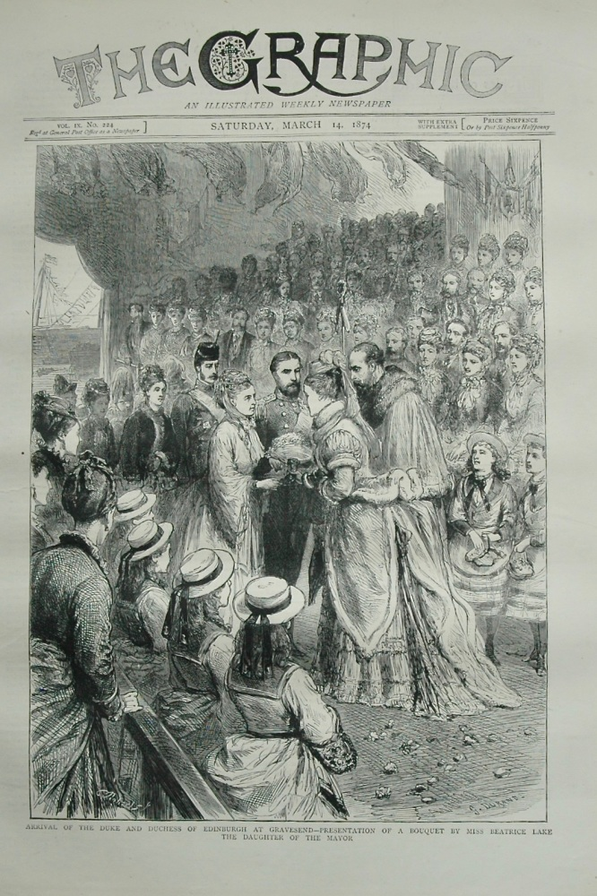 Arrival of The Duke and Duchess of Edinburgh at Gravesend - 1874