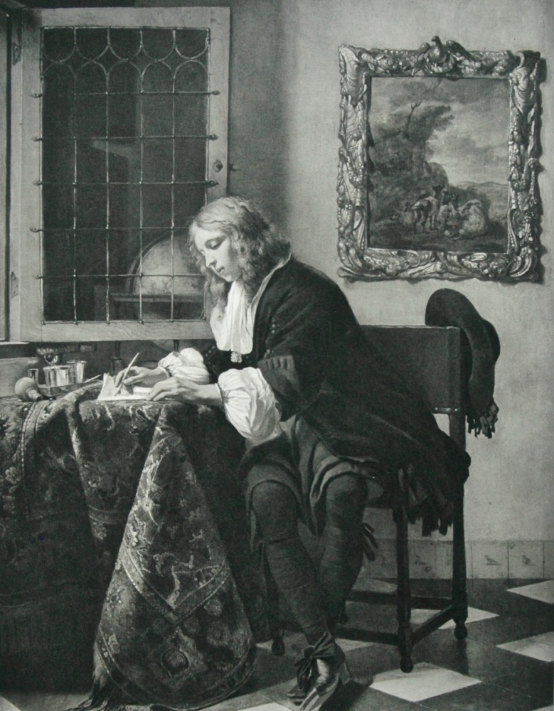"""A Young Cavalier Writing"" - Photogravure - 1903"