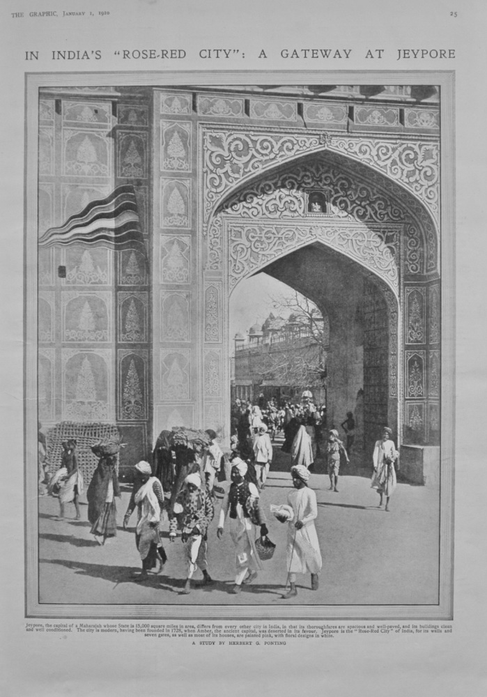 "In India's ""Rose-Red City"": A Gateway at Jeypore - 1910"