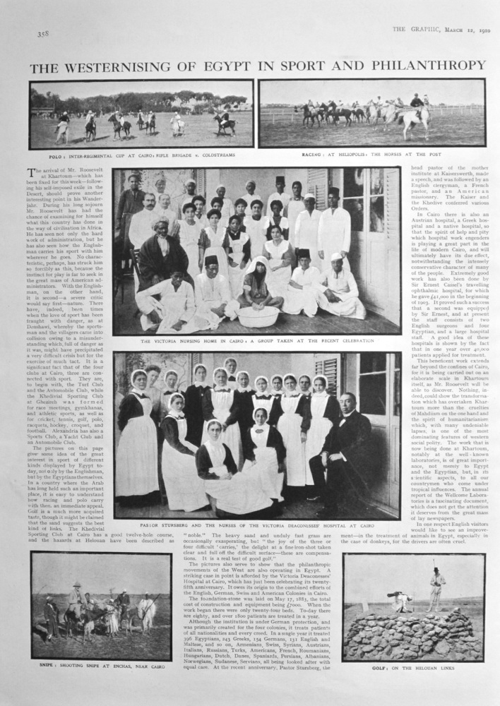 The Westernising of Egypt in Sport  and Philanthropy.   1910