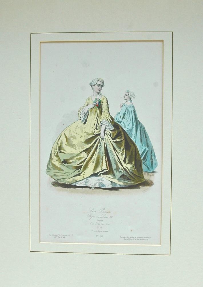 """""""Les Paniers"""" - colour lithograph - 1865"""