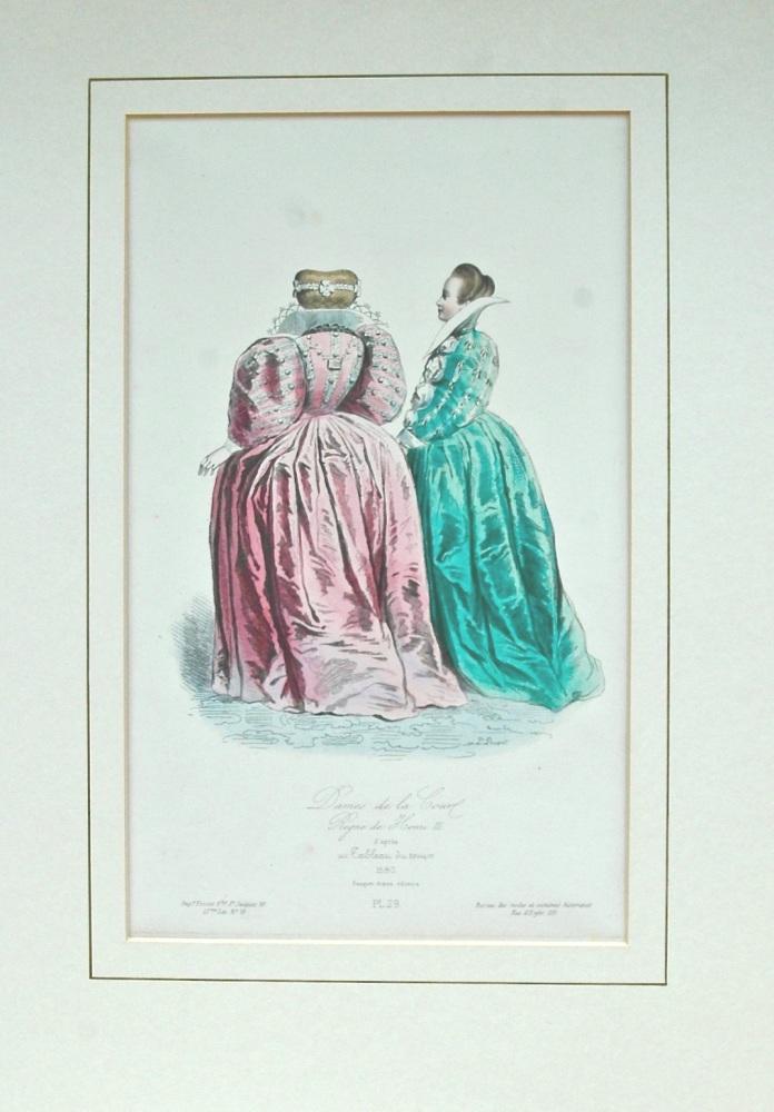 """""""Dames de la Court - colour lithograph"""" - 1865"""