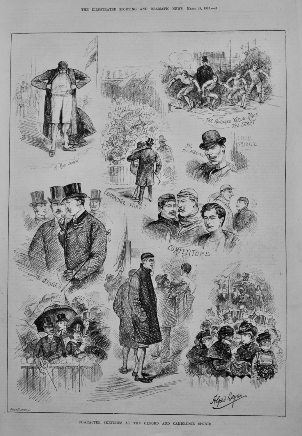 Character Sketches at the Oxford and Cambridge Sports.  1883.