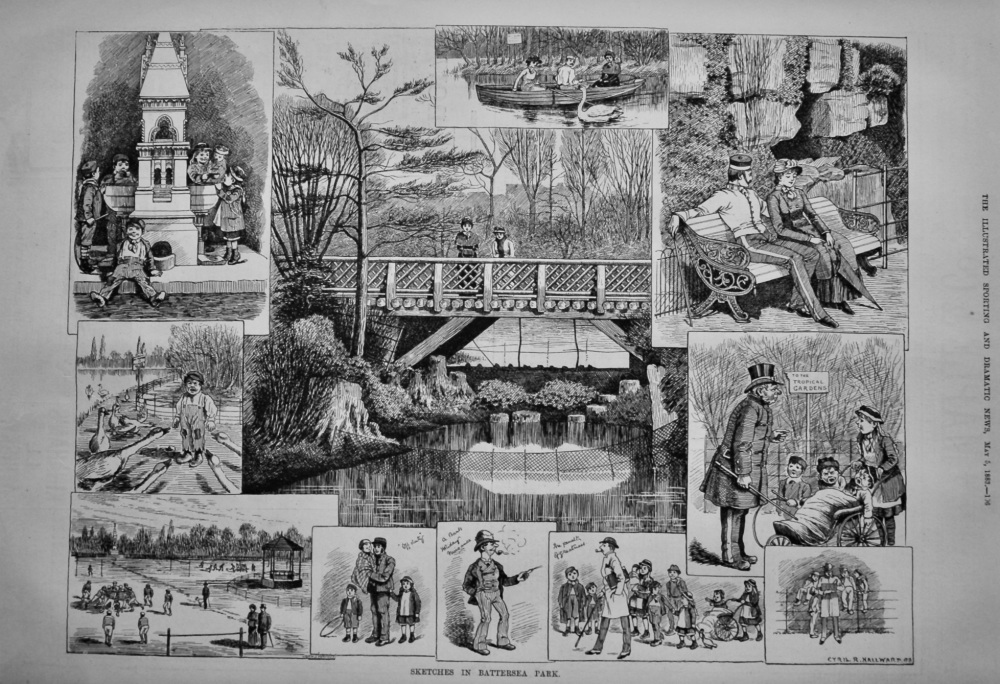 Sketches in Battersea Park.  1883.