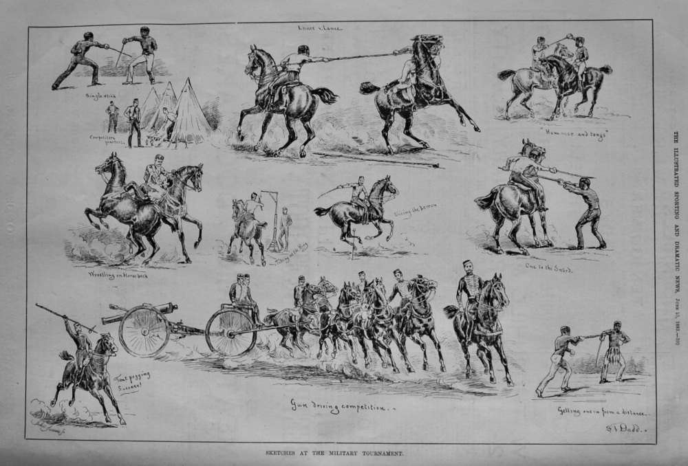 Sketches at the Military Tournament.  1883.