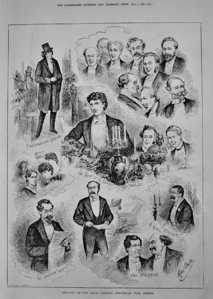 Sketches at the Royal General Theatrical Fund Dinner.  1883.
