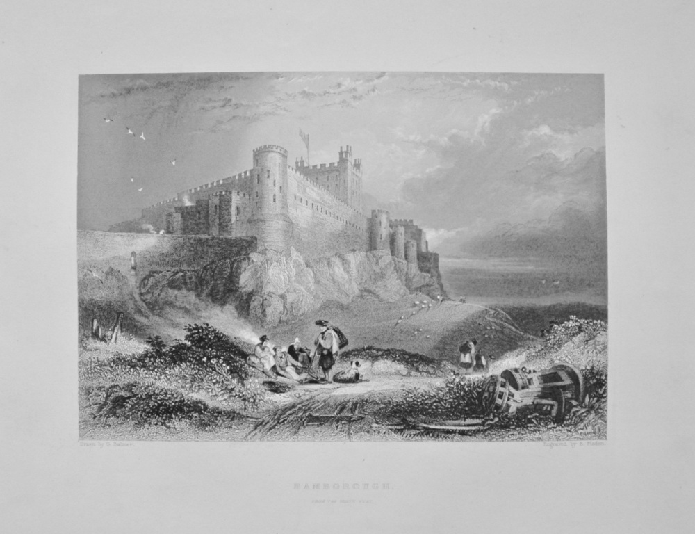 """Bamborough, from the North West."" - 1842.  (Castle)"
