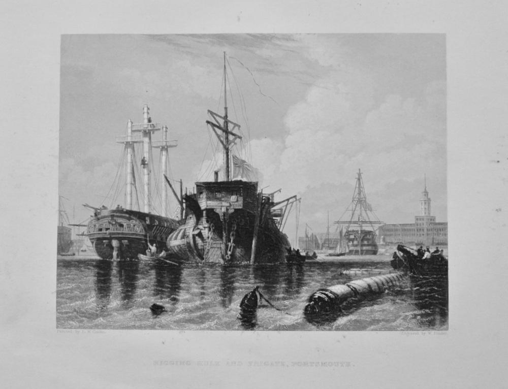 """Rigging Hulk and Frigate, Portsmouth"" - 1842"