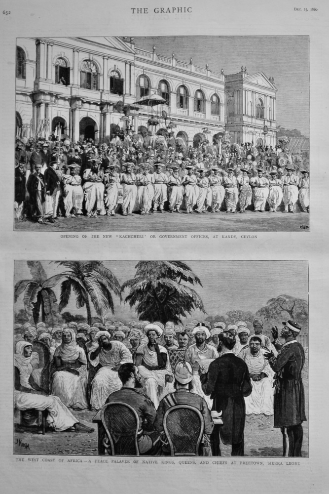The West Coast of Africa - A Peace Palaver of Native Kings, Queens, and Chiefs ar Freetown, Sierra Leone.  1880.