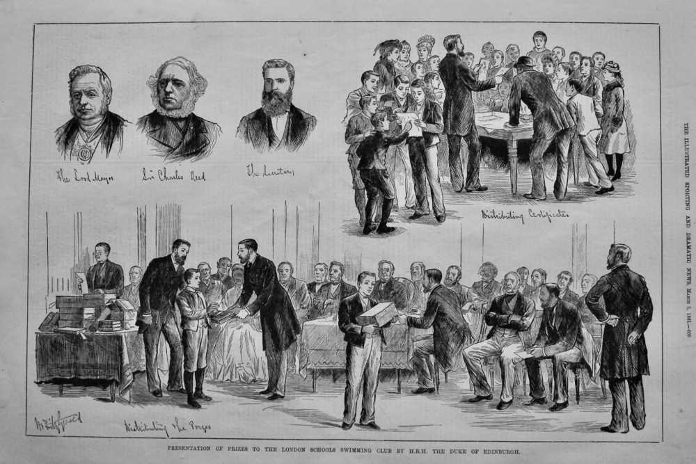Presentation of Prizes to the London Schools Swimming Club by H.R.H. The Duke of Edinburgh.  1881.