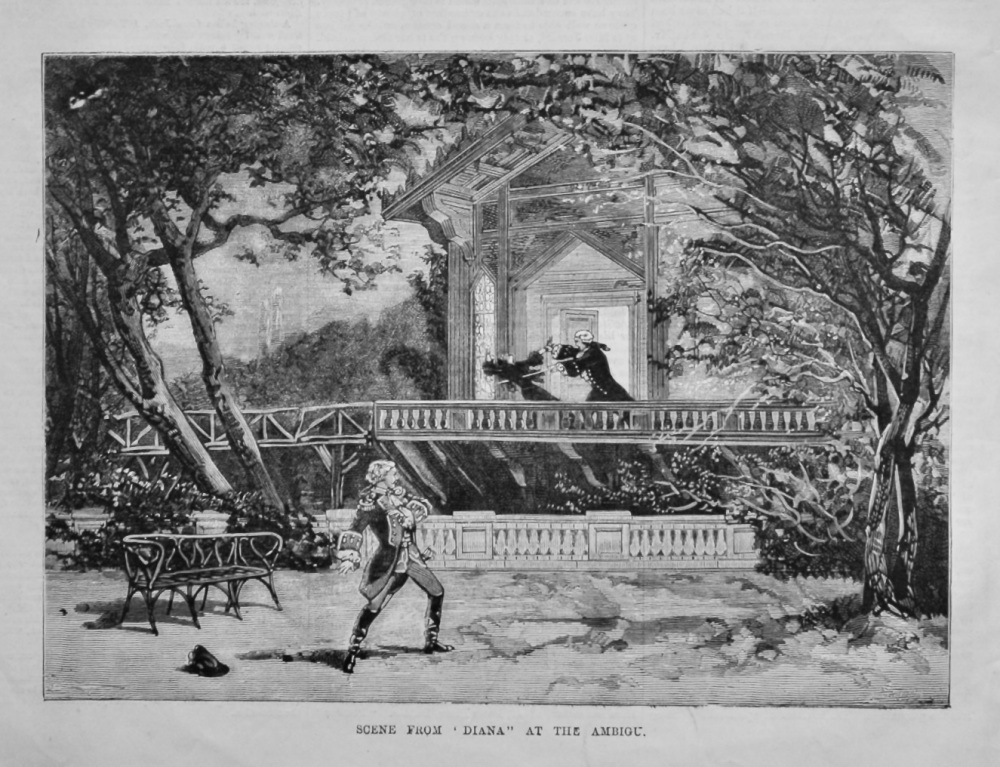 """Scene from """"Diana"""" at the Ambigu.  1880."""